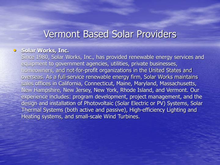 Vermont Based Solar Providers