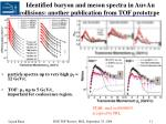 identified baryon and meson spectra in au au collisions another publication from tof prototype