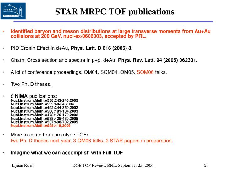STAR MRPC TOF publications