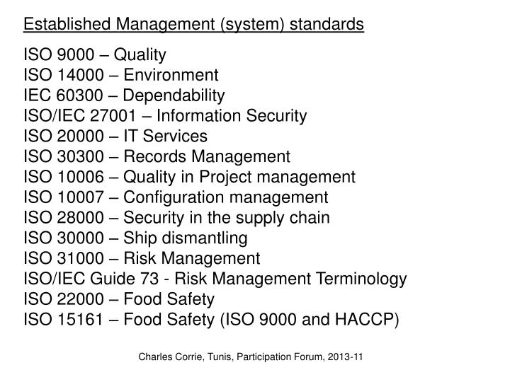 Established Management (system) standards