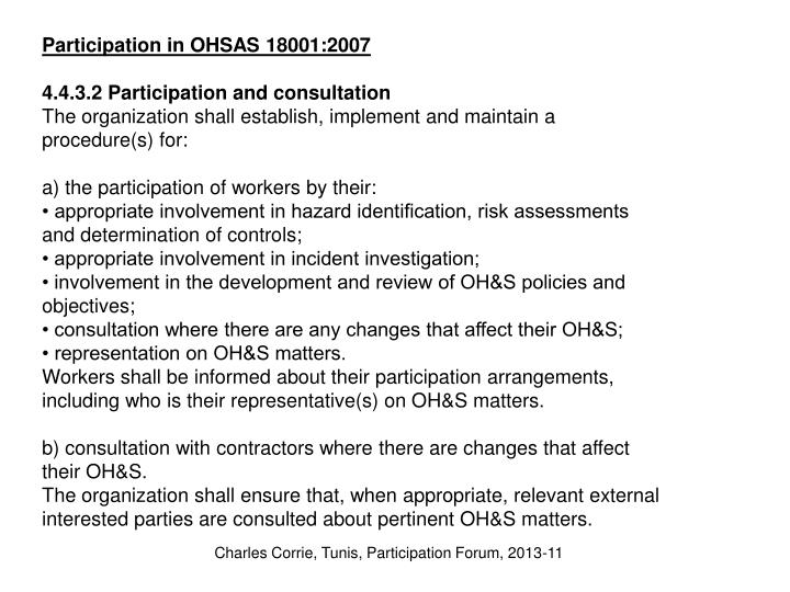 Participation in OHSAS 18001:2007