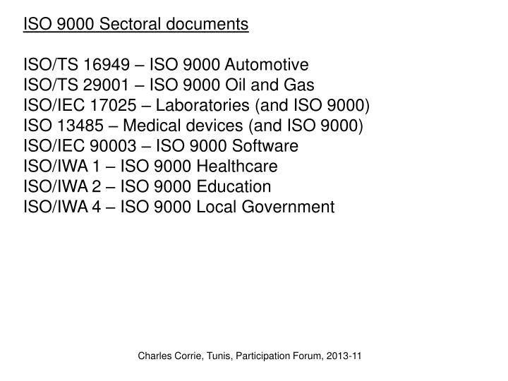 ISO 9000 Sectoral documents