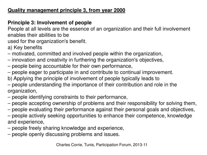 Quality management principle 3, from year 2000