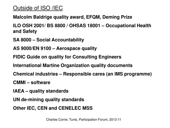 Outside of ISO /IEC