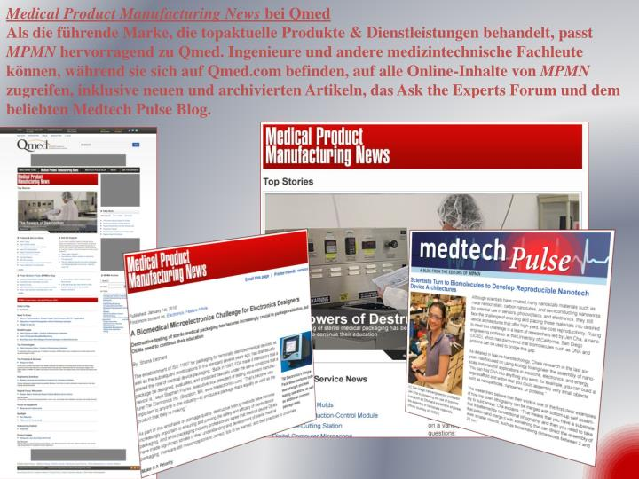 Medical Product Manufacturing News