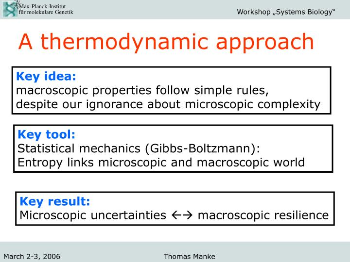 A thermodynamic approach