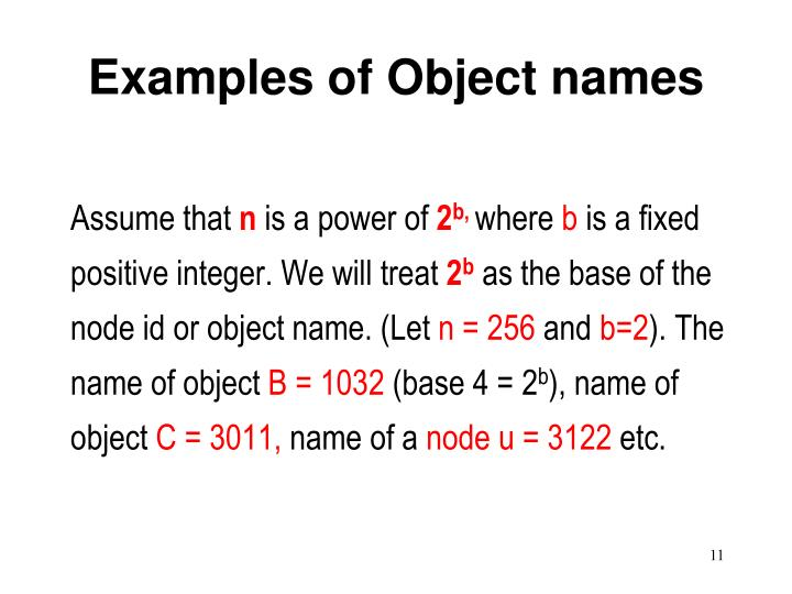 Examples of Object names