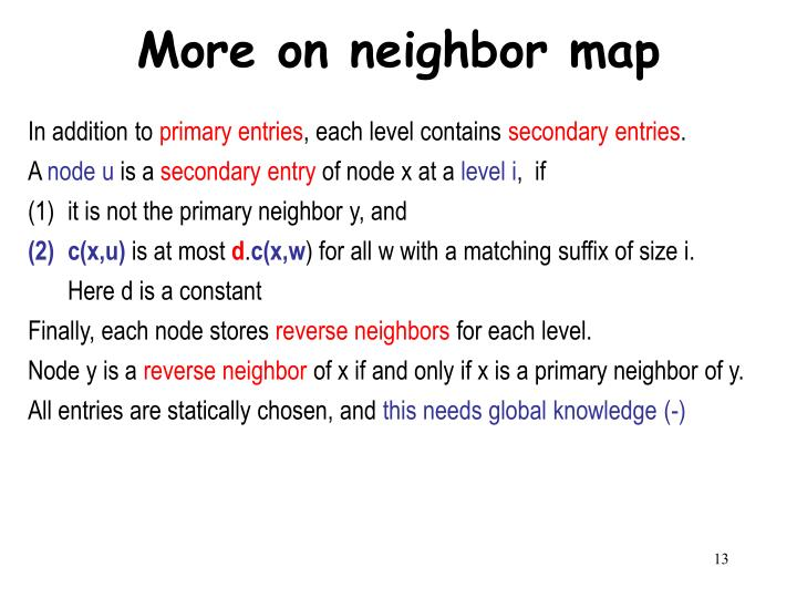 More on neighbor map
