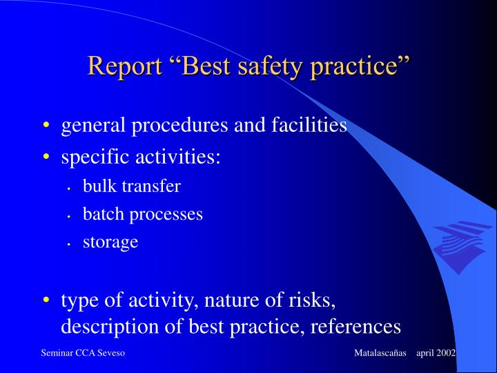 "Report ""Best safety practice"""