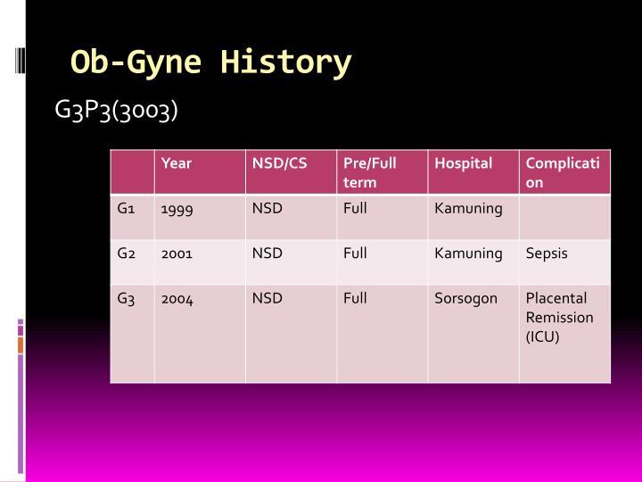 Ob-Gyne History