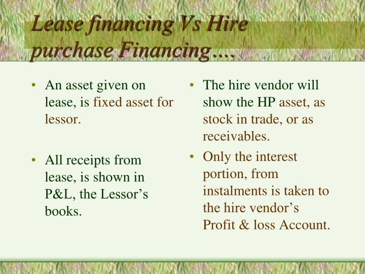 An asset given on lease, is