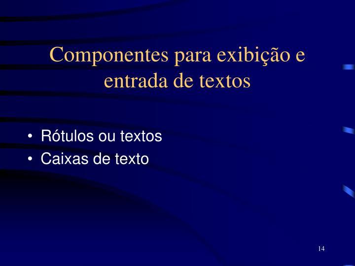 Componentes para exibição e entrada de textos