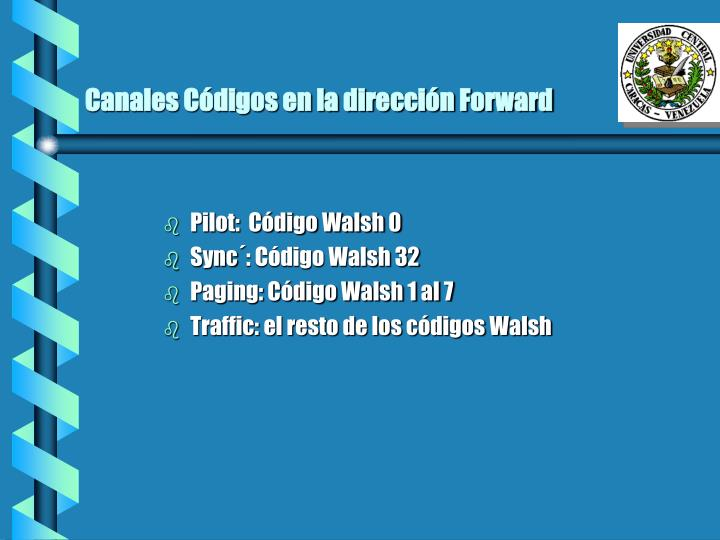 Canales Códigos en la dirección Forward