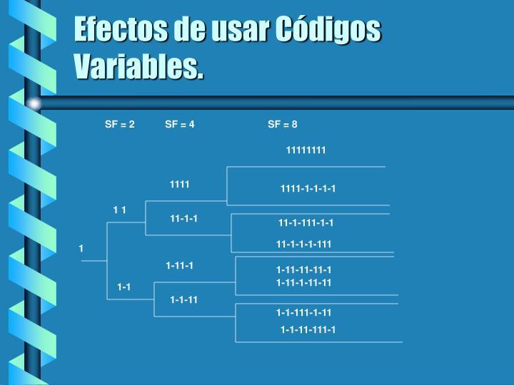 Efectos de usar Códigos Variables.