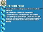 lpc 10 fs 1015