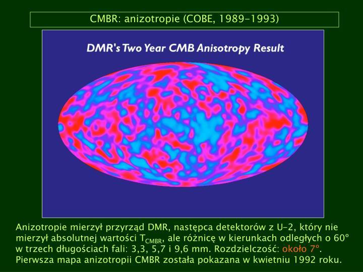 CMBR: anizotropie (COBE, 1989-1993)