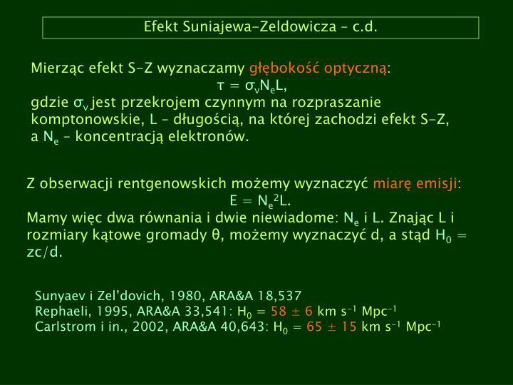 Efekt Suniajewa-Zeldowicza – c.d.