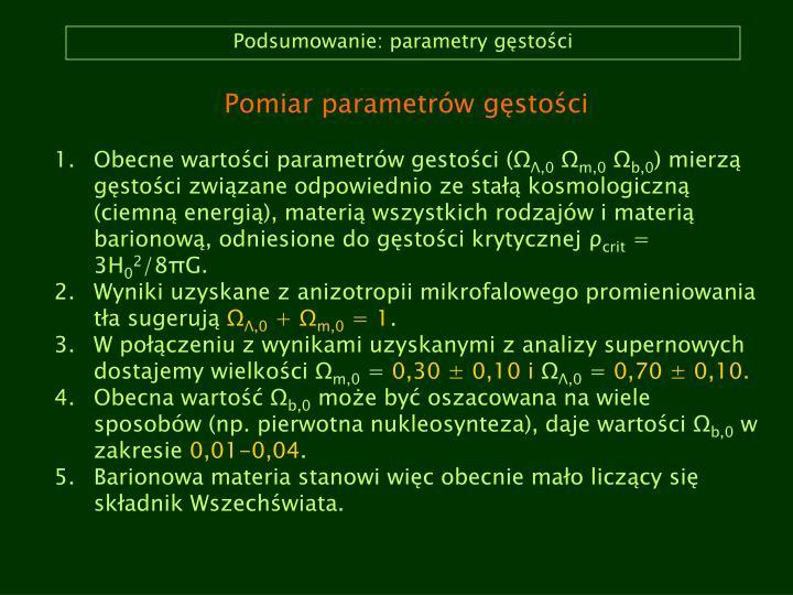 Podsumowanie: parametry gęstości