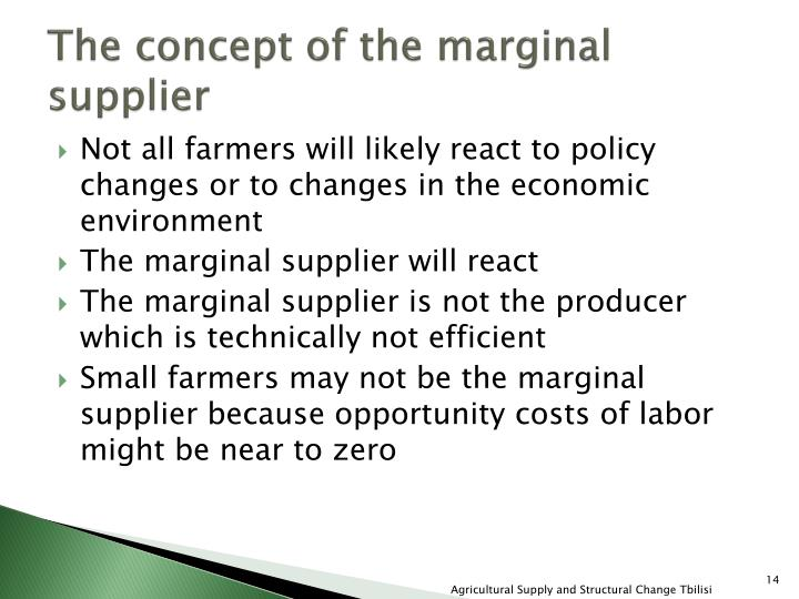 The concept of the marginal supplier