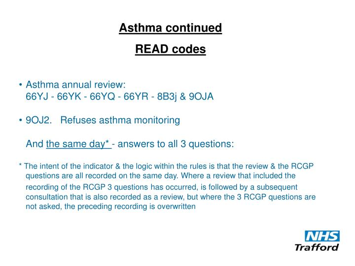 Asthma continued