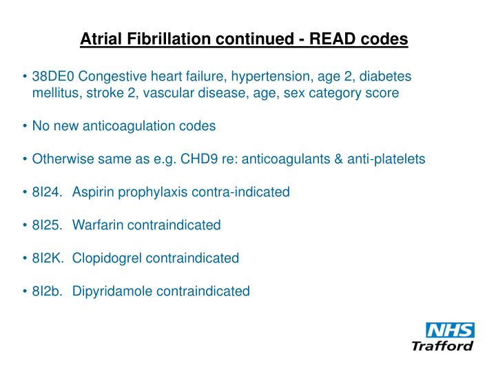 Atrial Fibrillation continued - READ codes