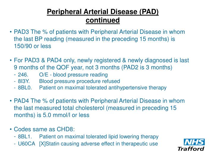 Peripheral Arterial Disease (PAD) continued