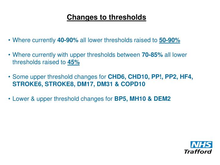 Changes to thresholds