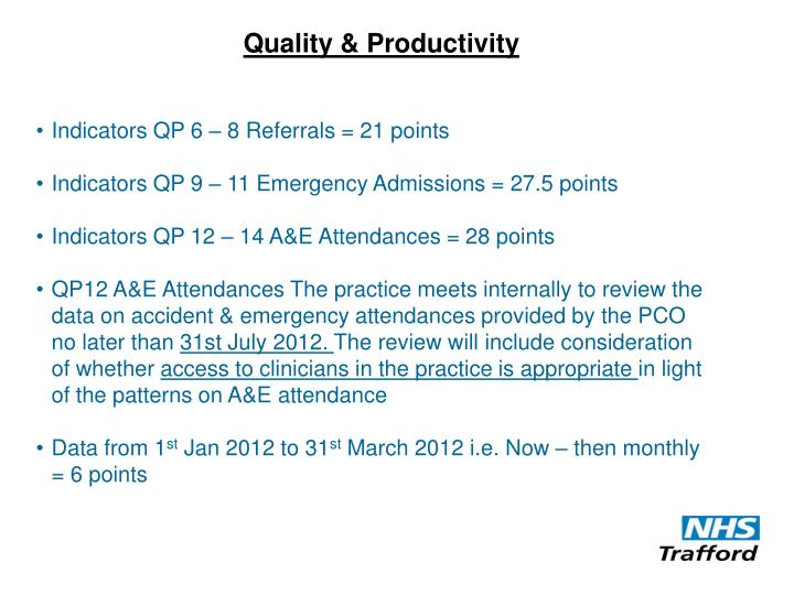 Quality & Productivity