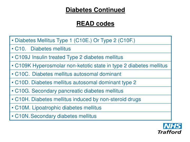 Diabetes Continued
