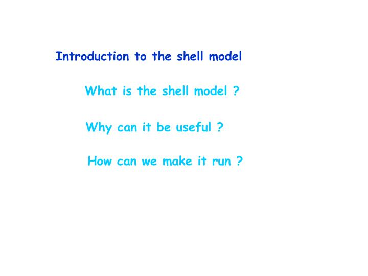 Introduction to the shell model
