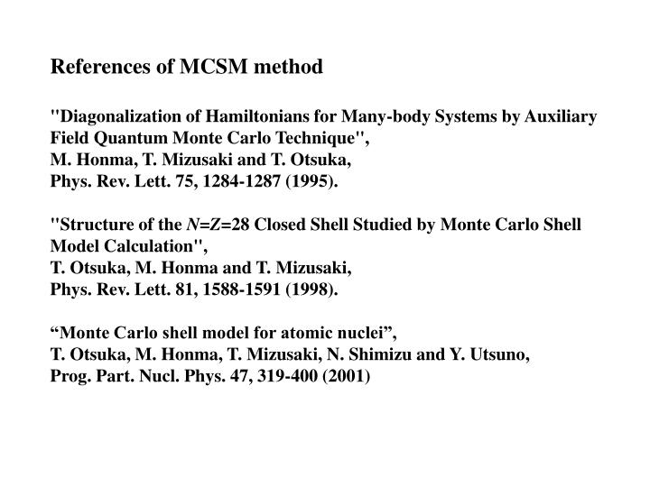 References of MCSM method