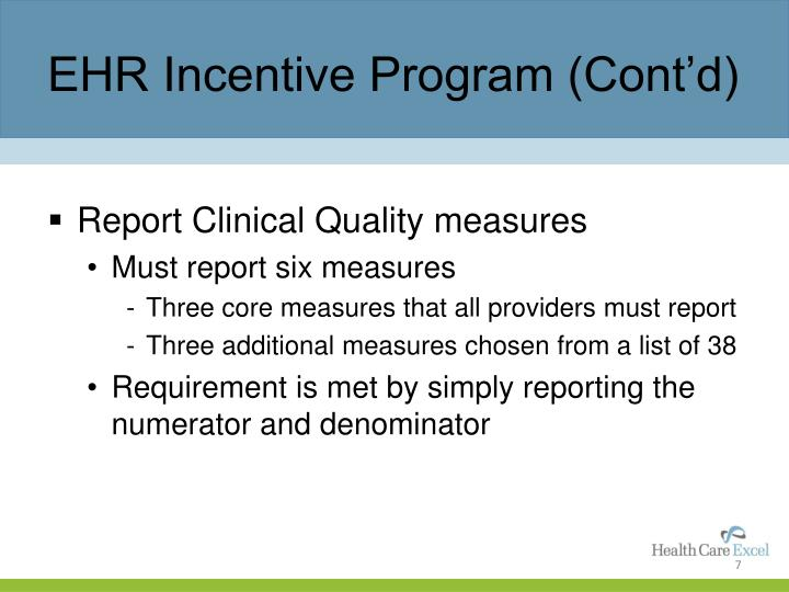 EHR Incentive Program (Cont'd)