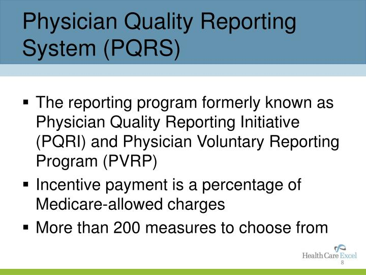 Physician Quality Reporting System (PQRS)