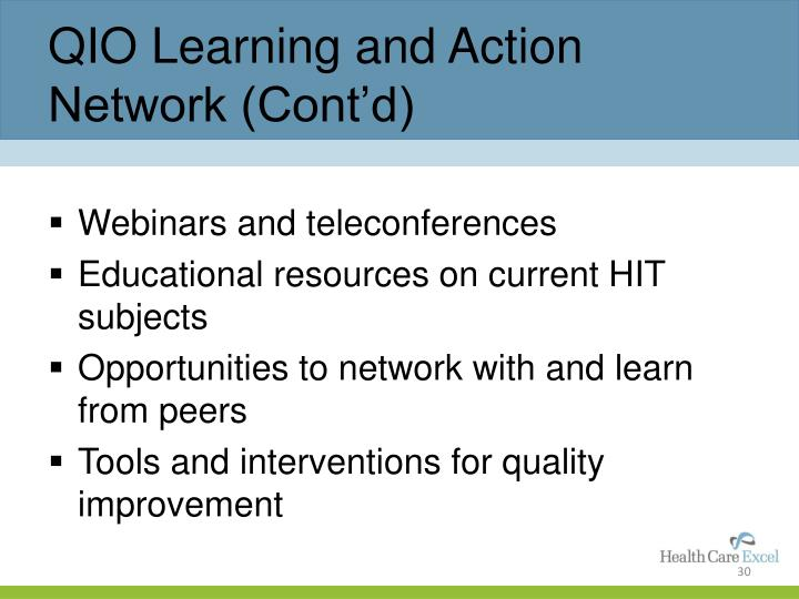 QIO Learning and Action Network (Cont'd)