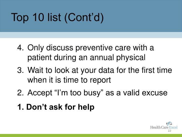 Top 10 list (Cont'd)