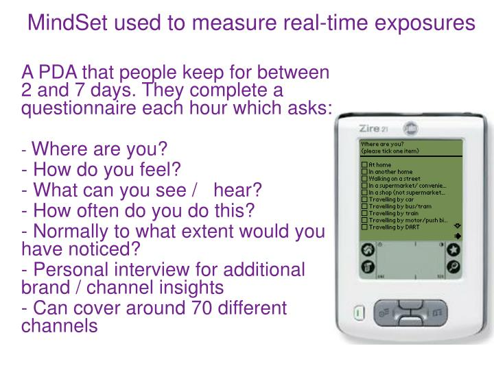 MindSet used to measure real-time exposures