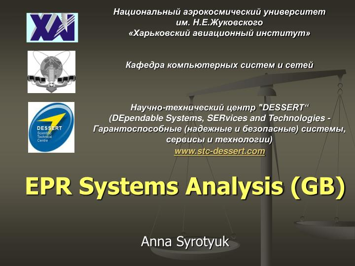 Epr systems analysis gb anna syrotyuk
