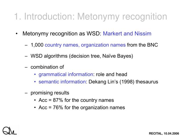 1. Introduction: Metonymy recognition