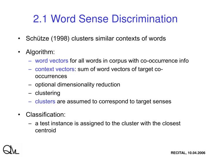 2.1 Word Sense Discrimination