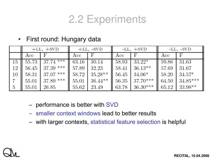 2.2 Experiments