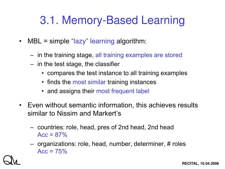 3.1. Memory-Based Learning