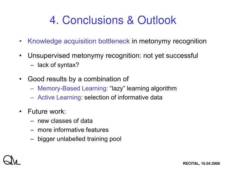 4. Conclusions & Outlook