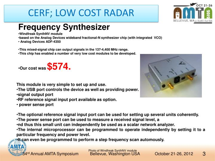 Cerf low cost radar