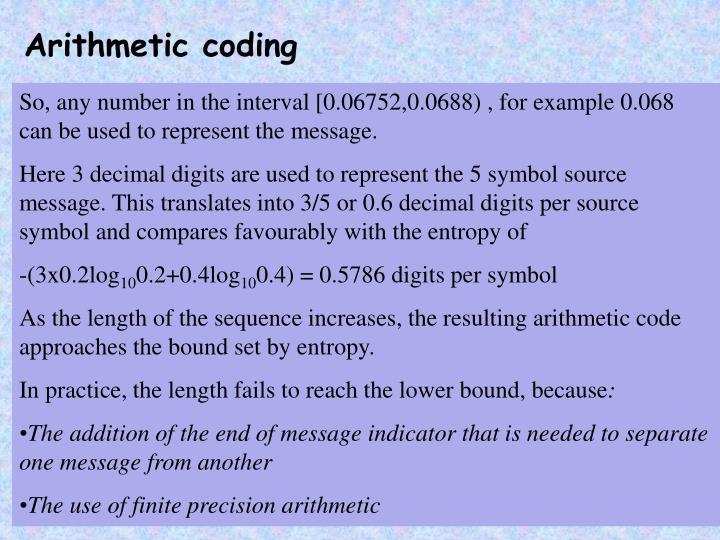 Arithmetic coding