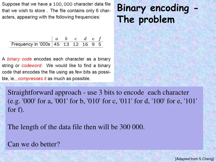 Binary encoding - The problem