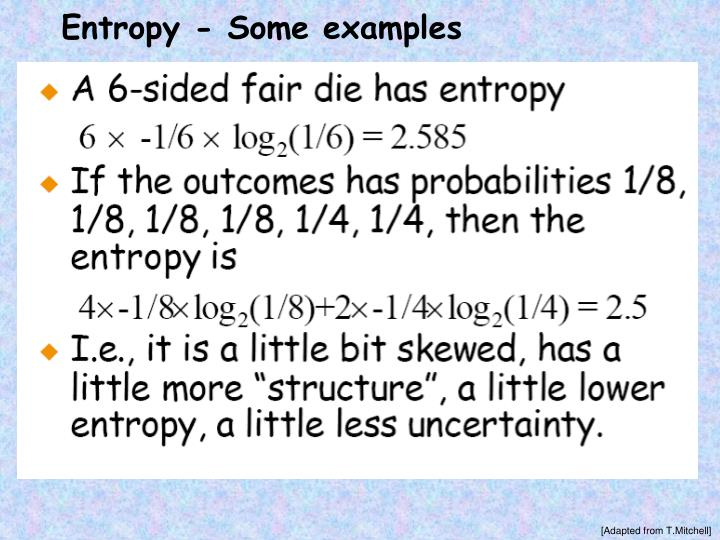 Entropy - Some examples