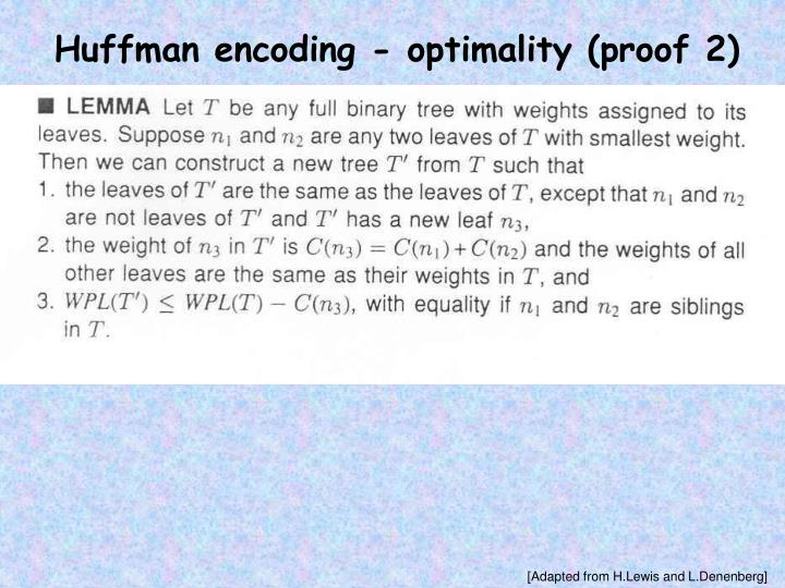 Huffman encoding - optimality (proof 2)