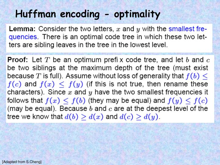 Huffman encoding - optimality