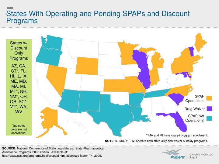States With Operating and Pending SPAPs and Discount Programs