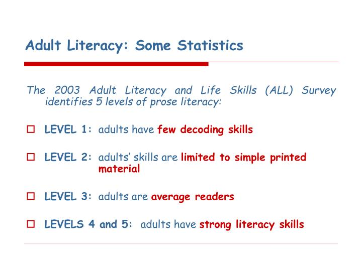 Adult literacy some statistics